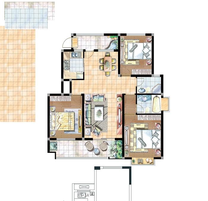 <> 某住宅室内装饰设计方案图,三室两厅户型设计,装饰简洁大方