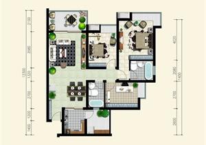 某三室两厅室内设计户型平面图psd格式