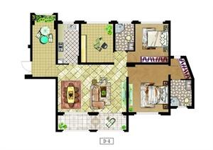 某三室一厅两卫一厨两阳台户型平面设计图PSD格式