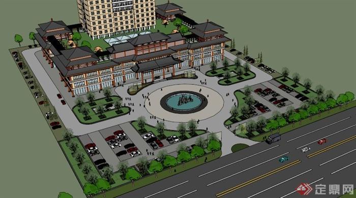 某中国古典格式高层酒店建筑设计模型SU风格半路出家做室内设计师图片