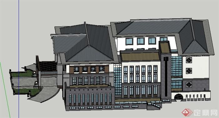 某中式风格会所酒店建筑设计su模型[原创]