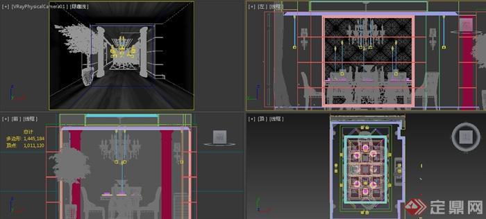 某简欧风格餐厅室内装修3DMAX模型