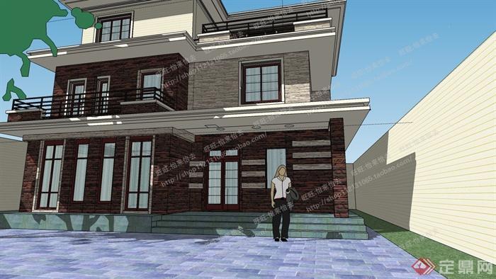 某现代三层小别墅建筑设计su模型图片