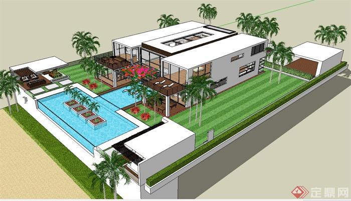 附带有庭院景观设计,建筑设计造型较为独特,现代感较强,模型制作精细