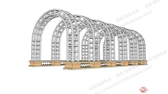 某拱形铁艺花架整体su模型[原创]图片