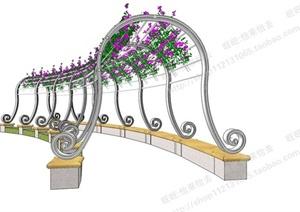某欧式铁艺花架整体su(草图大师)模型图片