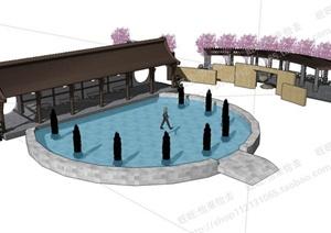 中式廊架、廊亭、景墙设计SU(草图大师)模型