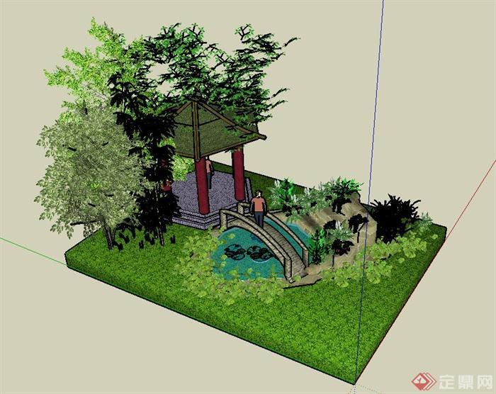 <> 某中式小品景观设计su模型,包含了亭子,拱桥,水池的设计图片