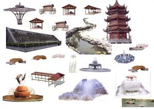多个景观节点园桥、喷泉、亭子素材PSD格式