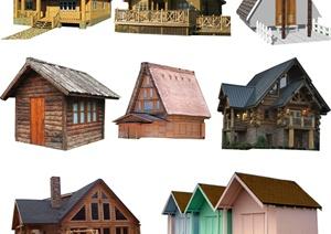 8款木屋、住宅建筑psd素材