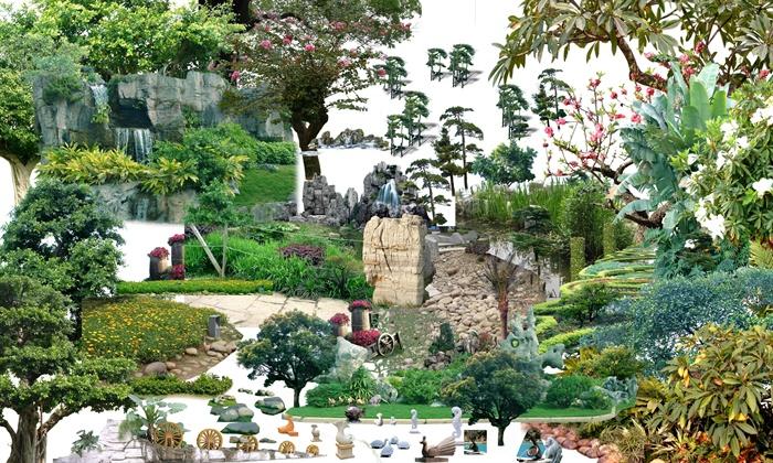 景观雕塑,水池,假山等景点组合psd素材[原创]
