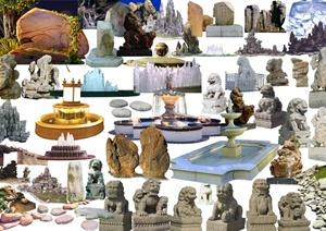 多款园林景观雕塑、水景、景石设计素材psd格式