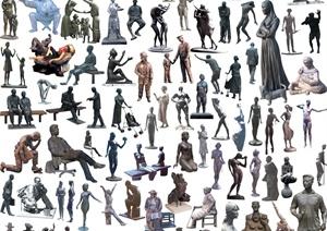 多款人物雕塑素材效果图PSD格式