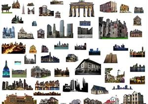 多款不同风格的多功能建筑配景素材效果图PSD格式