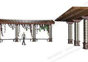 某两个园林景观花架、廊架SU(草图大师)模型