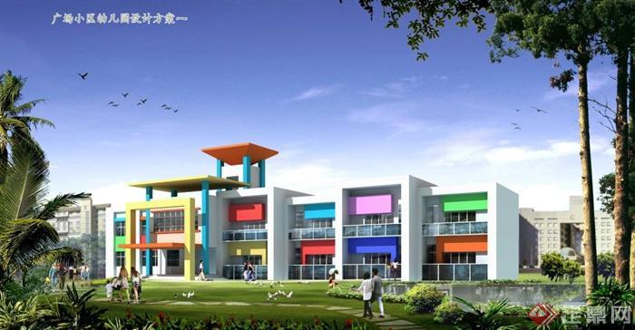 幼儿园教学楼效果图_某小区幼儿园教学楼建筑设计方案图(带效果图)[原创]