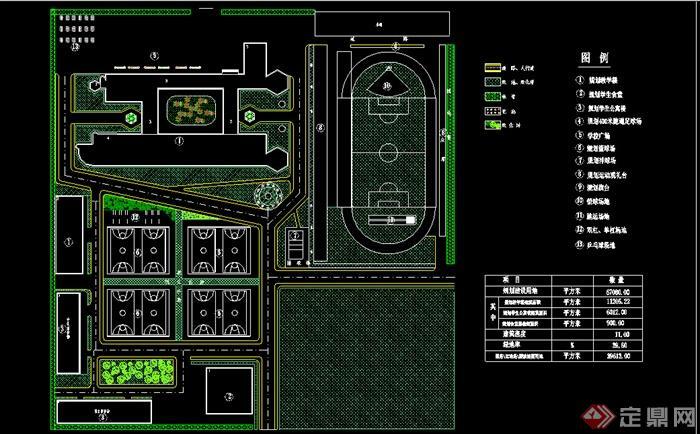 某中学规划平面图景观设计CAD图纸