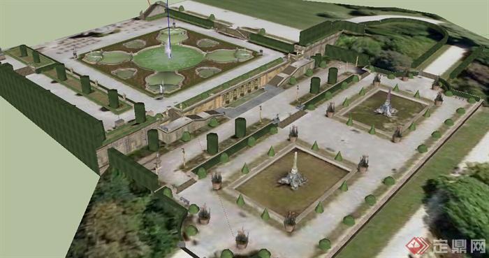园林景观之欧式庭院花园设计su模型