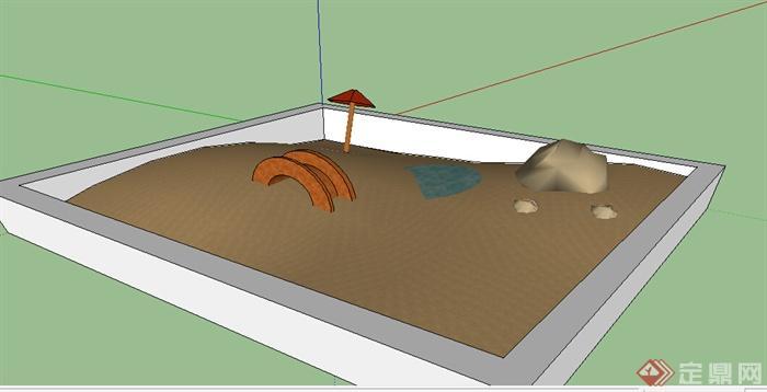 某体育沙坑设计SU模型素材(1)