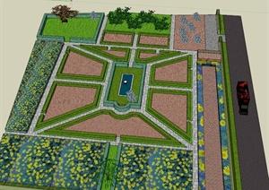 某欧式公共广场景观设计su(草图大师)模型图片