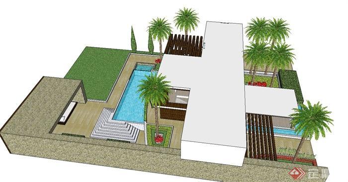 某住宅建筑设计su模型(带景观室内)图片