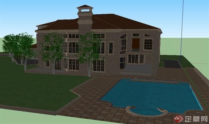 某欧式风格度假会所建筑设计整体su模型