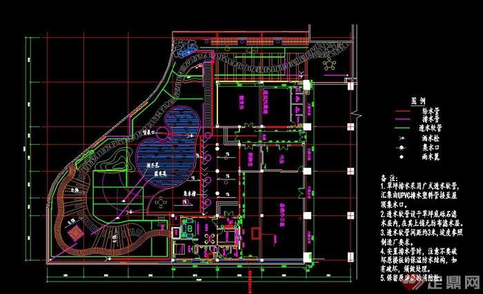某办公楼范本景观设计给排水平面图装修公司设计师v范本庭院图片