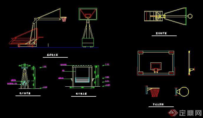 某篮球场,篮球架,秋千设计图纸