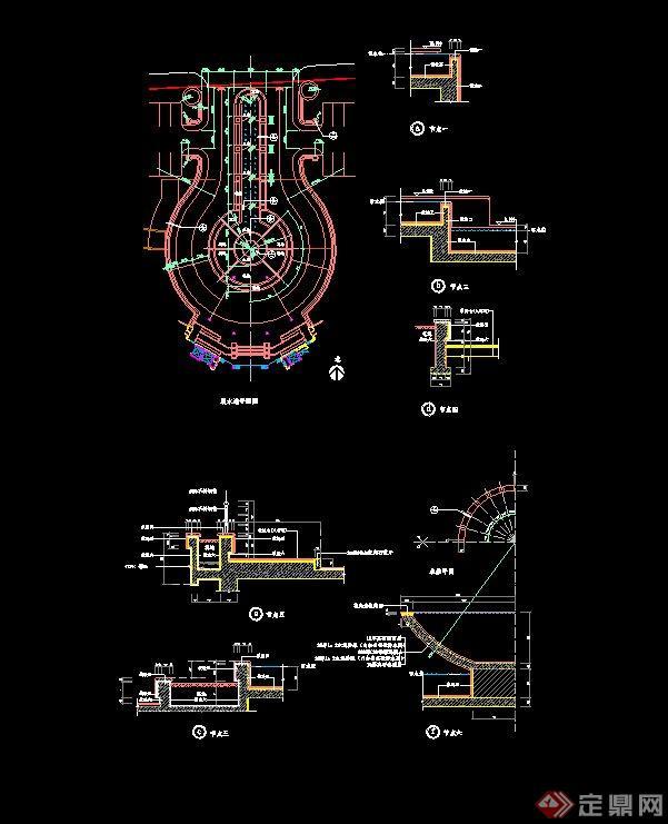 某跌水池景观设计CAD施工图
