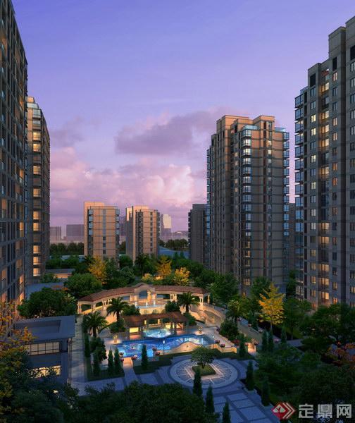 某高层住宅中央水景建筑景观效果图psd格式