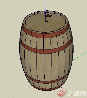 一个圆形木桶su模型