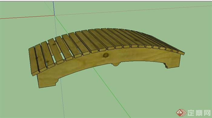 某木质景观园桥设计SU模型
