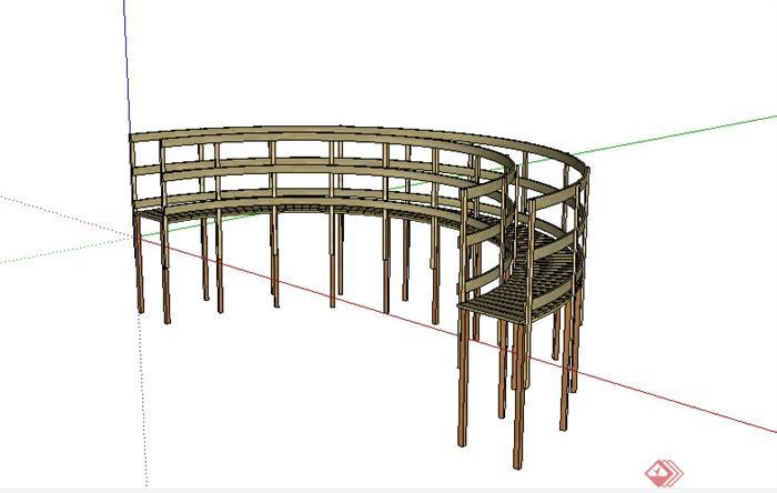 某园林木栈道平台su模型