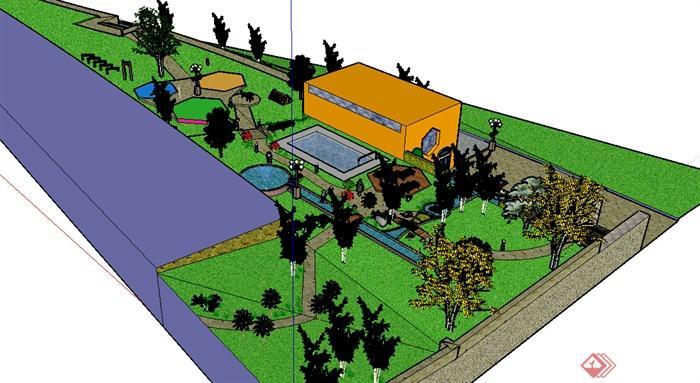 某现代街头小游园景观设计方案su模型(2)