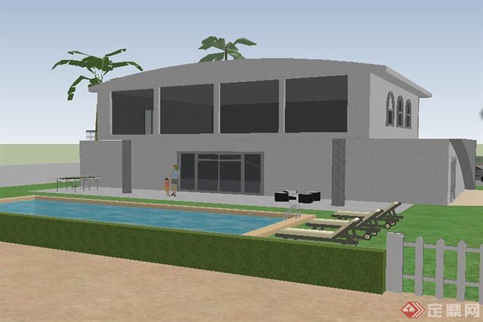某小型别墅建筑设计SU模型 含泳池