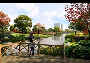 效果图滨水 河道湿地公园园林景观设计方案项目 效果图滨水 河道湿地