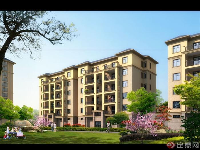 某多层住宅小区中央绿化景观效果图psd格式