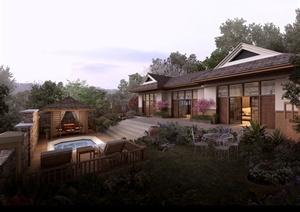 某东南亚风情单层别墅庭院景观psd效果图