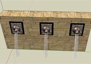 喷水狮子头设计SketchUp(SU(草图大师))3D模型