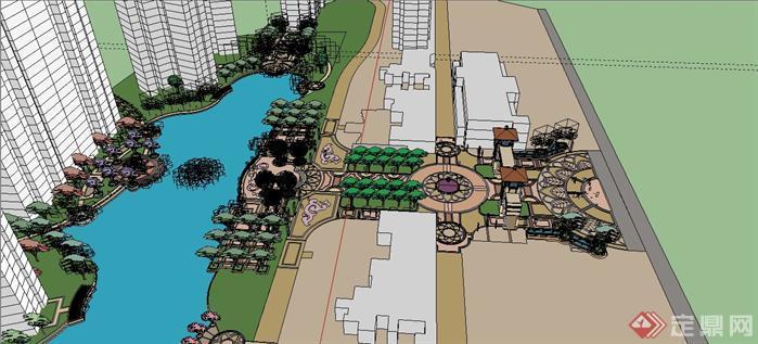 某欧式住宅区入口大门及中央景观设计SU(Sketchup)模型3