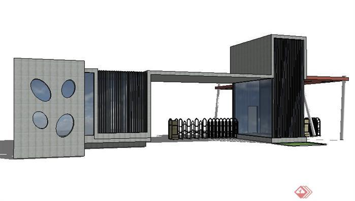 某校园大门和庭院门SketchUp(SU)3D模型1