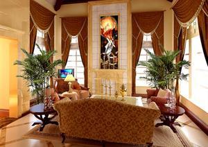 杭州某欧式风格别墅室内设计施工图(含效果图)