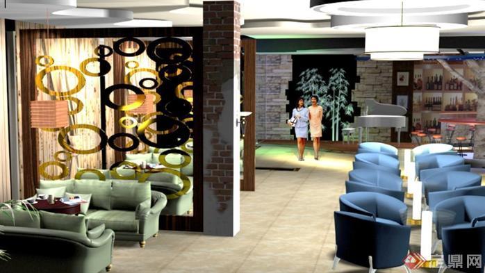 室内设计作业之咖啡厅装修设计方案效果图3