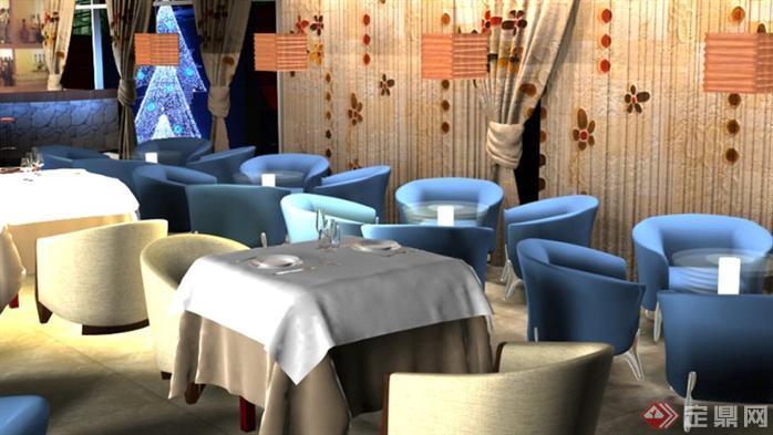 室内设计作业之咖啡厅装修设计方案效果图2