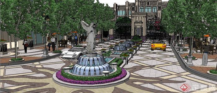 某法式风格居住区入口大门和景观设计SketchUp(SU)3D模型2