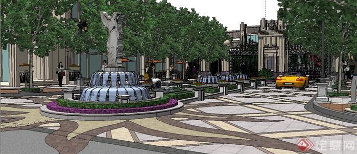 某法式风格居住区入口大门和景观设计SketchUp(SU)3D模型3
