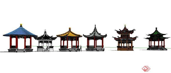 六款中式古典风格亭子SketchUp(SU)3D模型