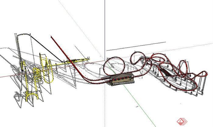 游樂設施過山車SketchUp(SU)3D模型