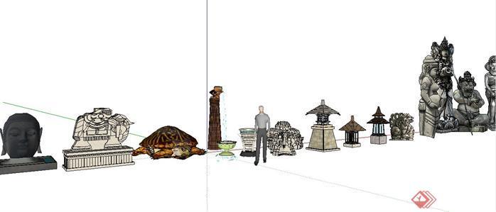 14款东南亚雕塑小品精选SketchUp(SU)3D模型