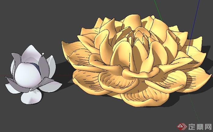 莲花景观小品SketchUp(SU)3D模型
